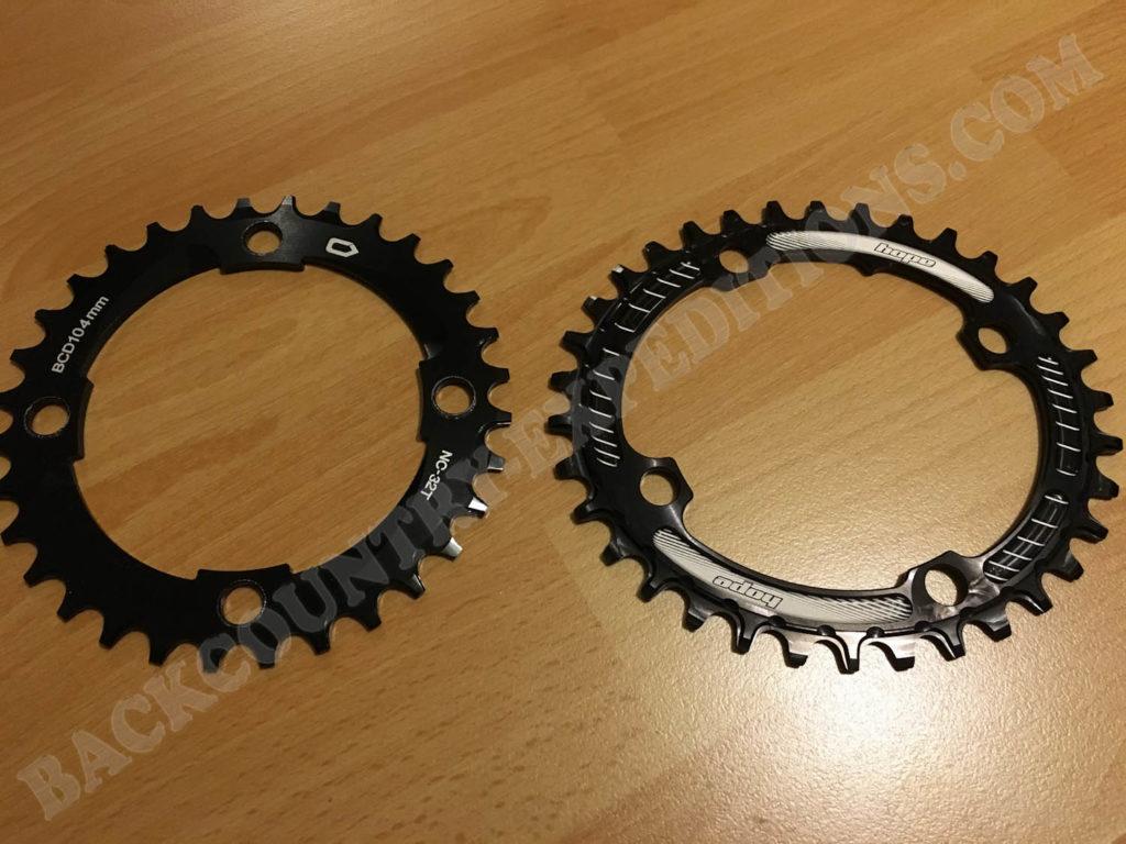 1-Fach Kettenblatt, links: 32 Zähne rund; rechts 34 Zähne Hope Oval