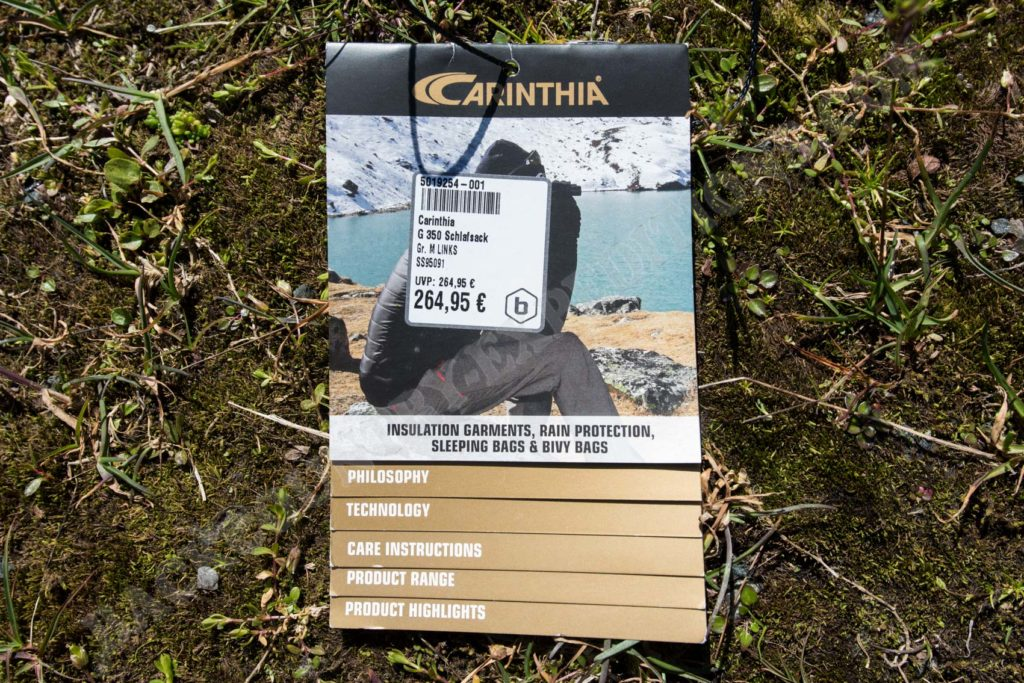 Carinthia G350 Etikett