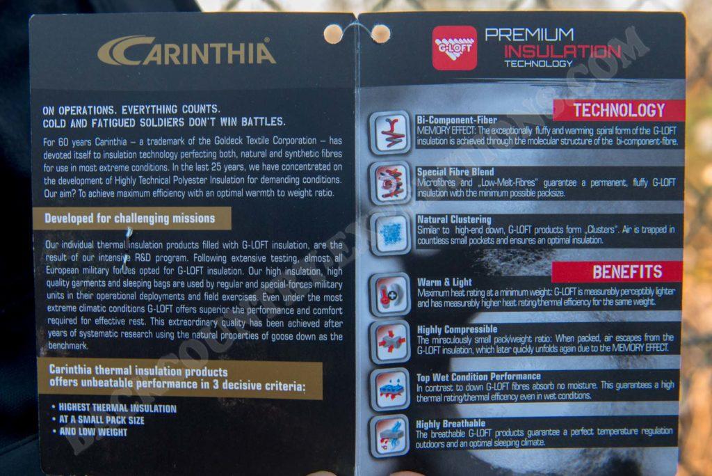Carinthia ISG 2.0 Jacket Lady Technische Daten