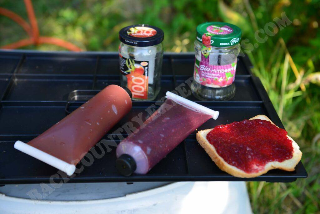 Trekking-Marmelade in Tuben abgefüllt