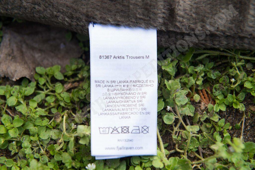 Fjällräven Arktis Trousers Etikett