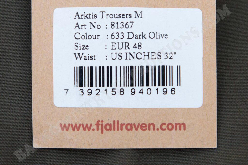 Fjällräven Arktis Trousers Label